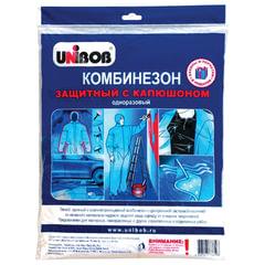 Комбинезон с капюшоном из нетканного материала защитный, UNIBOB, размер XL, белый, подвес,+ бахилы и перчатки