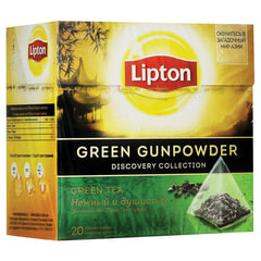 "Чай LIPTON (Липтон) ""Green Gunpowder"", зеленый, 20 пирамидок по 2 г"