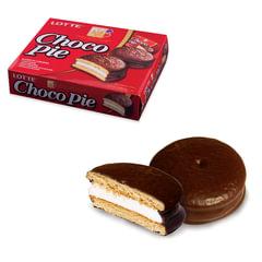 """Печенье LOTTE """"Choco Pie"""" (""""Чоко Пай""""), прослоенное, глазированное, в картонной упаковке, 336 г (12 штук х 28 г)"""