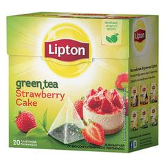 """Чай LIPTON (Липтон) """"Strawberry Cake"""", зеленый фруктовый, 20 пирамидок по 2 г"""