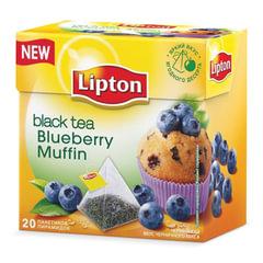 """Чай LIPTON (Липтон) """"Blueberry Muffin"""", черный со вкусом черничного кекса, 20 пирамидок по 2 г"""