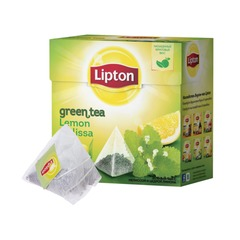 "Чай LIPTON (Липтон) ""Green Lemon Melissa"", зеленый, 20 пирамидок по 2 г"
