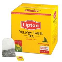"""Чай LIPTON (Липтон) """"Yellow Label"""", черный, 500 пакетиков с ярлычками по 2 г"""