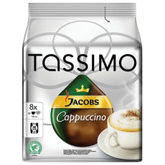 "Капсулы для кофемашин TASSIMO JACOBS ""Cappuccino"", натуральный кофе 8 шт. х 8 г, молочные капсулы 8 шт. х 40 г"