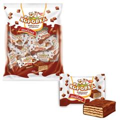 """Конфеты шоколадные РОТ ФРОНТ """"Коровка"""", вафельные с шоколадной начинкой, 250 г, пакет"""