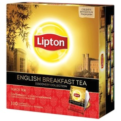 """Чай LIPTON (Липтон) Discovery """"English Breakfast"""", черный, 100 пакетиков по 2 г"""