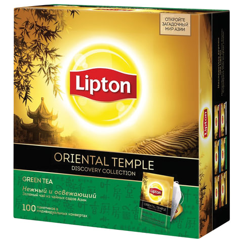 "Чай LIPTON (Липтон) Discovery ""Green Oriental Temple"", зеленый, 100 пакетиков по 2 г"