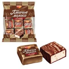 """Конфеты шоколадные РОТ ФРОНТ """"Птичье молоко"""", суфле, сливочно-ванильные, 225 г, пакет"""
