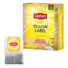 """Чай LIPTON (Липтон) """"Yellow Label"""", черный, 100 пакетиков с ярлычками по 1,6 г"""