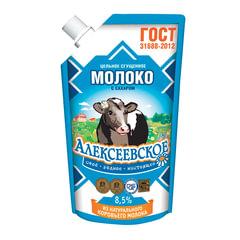 Молоко сгущенное АЛЕКСЕЕВСКОЕ, цельное с сахаром, жирность 8,5%, 270 г, дой-пак