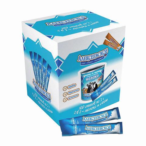 Молоко сгущенное АЛЕКСЕЕВСКОЕ порционное, цельное с сахаром, жирностью 8,5%, 100 шт. х 7 г (шоу-бокс 700 г)
