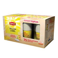"""Промонабор: Чай LIPTON (Липтон) """"Yellow Label"""", черный, 3 шт. х 100 пакетиков х 1,6 г + 75 стаканов, 1080 г"""