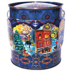 """Подарок новогодний """"Вечерок"""", 1000 г, набор конфет и пр., ассорти, жестяная туба"""