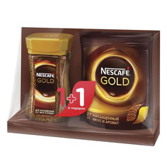"""Промонабор: Кофе растворимый NESCAFE (Нескафе) """"Gold"""", сублимированный, 1+1 в подарок, 95 г + 75 г"""