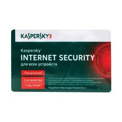 """Антивирус KASPERSKY """"Internet Security"""", лицензия на 3 устройства, 1 год, карта продления"""