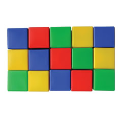 """Кубики пластиковые, 15 шт., 8х8х8 см, цветные, """"Десятое королевство"""""""