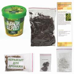 """Набор для выращивания растений ВЫРАСТИ ДЕРЕВО! """"Орех Маньчжурский"""" (банка, грунт, семена)"""