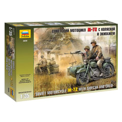 """Модель для склеивания МОТО """"Мотоцикл М-72 советский с коляской"""", масштаб 1:35, ЗВЕЗДА, 3639"""