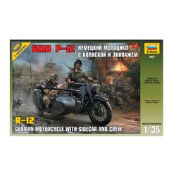 """Модель для склеивания МОТО """"Мотоцикл BMW R-12 немецкий с коляской"""", масштаб 1:35, ЗВЕЗДА, 3607"""