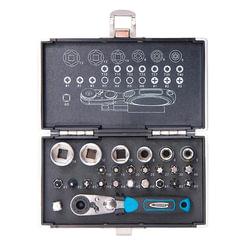 """Набор бит и торцевых головок 1/4"""", 26 предметов, GROSS, магнитный адаптер, храповый ключ, переходник, кейс"""