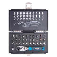 """Набор бит 1/4"""", 33 предмета, GROSS, магнитный адаптер, храповый ключ, переходник, пластиковый кейс"""
