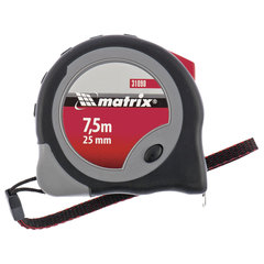 """Рулетка измерительная 7,5 м х 25 мм, MATRIX """"Continuous Fixation"""", обрезинный корпус, 2 механизма фиксации"""