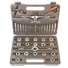 Набор метчиков и плашек 40 предметов, SPARTA, М3-М12, плашко-метчикодержатель, пластиковый кейс