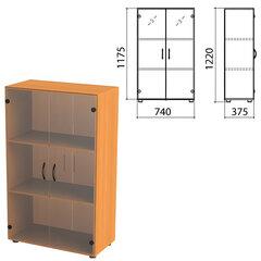 "Шкаф закрытый со стеклом ""Фея"", 740х375х1220 мм, цвет орех милан (КОМПЛЕКТ)"