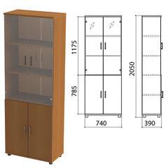 "Шкаф закрытый со стеклом ""Монолит"", 740х390х2050 мм, цвет орех гварнери (КОМПЛЕКТ)"
