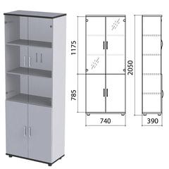 "Шкаф закрытый со стеклом ""Монолит"", 740х390х2050 мм, цвет серый (КОМПЛЕКТ)"