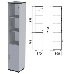 "Шкаф закрытый со стеклом ""Монолит"", 370х390х2050 мм, цвет серый (КОМПЛЕКТ)"