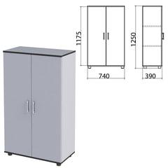 "Шкаф закрытый ""Монолит"", 740х390х1250 мм, цвет серый (КОМПЛЕКТ)"
