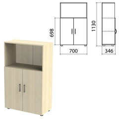 "Шкаф полузакрытый ""Канц"", 700х350х1130 мм, цвет дуб молочный (КОМПЛЕКТ)"