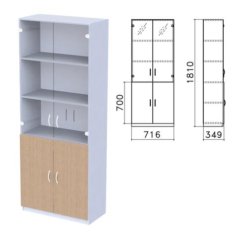 """Шкаф закрытый со стеклом """"Бюджет"""", 716х349х1810 мм, орех онтарио (КОМПЛЕКТ)"""