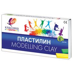 """Пластилин классический ЛУЧ """"Классика"""", 6 цветов, 120 г, со стеком, картонная упаковка"""