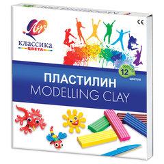 """Пластилин классический ЛУЧ """"Классика"""", 12 цветов, 240 г, со стеком, картонная упаковка"""