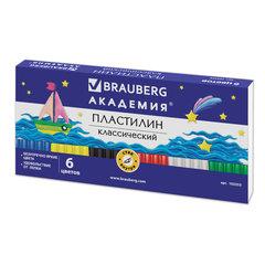 Пластилин классический BRAUBERG, 6 цветов, 120 г, со стеком, картонная упаковка, 103253
