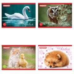 """Альбом для рисования, А5, 20 л., ПИФАГОР, обложка офсет, 100 г/м2, """"Животные"""", 4 вида"""