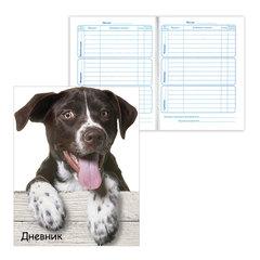 """Дневник для 1-4 классов, твердый, BRAUBERG, блестки, """"Забавный щенок"""""""