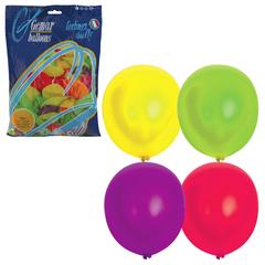 """Шары воздушные 12"""" (30 см), комплект 100 шт., 12 неоновых цветов, в пакете"""