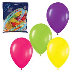 """Шары воздушные 7"""" (18 см), комплект 100 шт., 12 неоновых цветов, в пакете"""