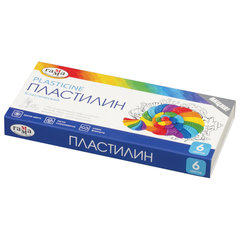 """Пластилин классический ГАММА """"Классический"""", 6 цветов, 120 г, со стеком, картонная упаковка"""