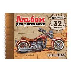 "Альбом для рисования, А4, 32 л., гребень, обложка картон, BRAUBERG ЭКО, 205х290 мм, ""Мотоциклы"" (1 вид), 105073"