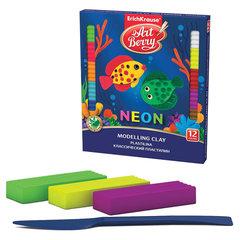 """Пластилин классический ERICH KRAUSE """"Artberry Neon"""", 12 цветов, 216 г, со стеком, картонная упаковка"""