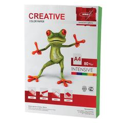 Бумага CREATIVE color (Креатив) А4, 80 г/м2, 100 л., интенсив зеленая