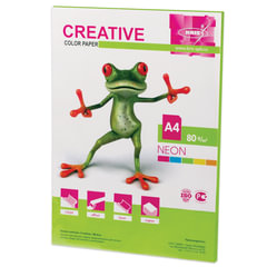 Бумага CREATIVE color (Креатив), А4, 80 г/м2, 50 л., неон салатовая