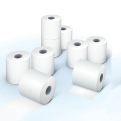 Рулоны для кассовых аппаратов, термобумага, 57х80х12 (80 м), комплект 8 шт., гарантия намотки, BRAUBERG (БРАУБЕРГ)