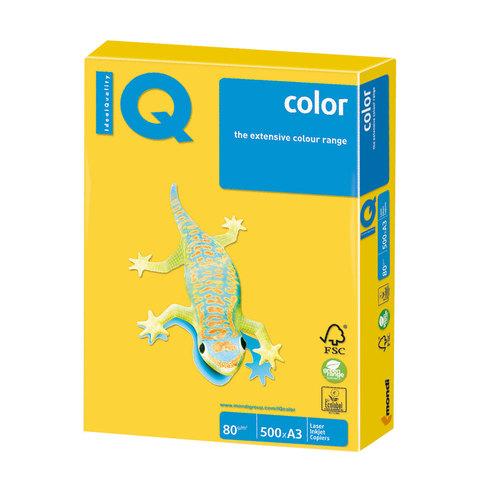 Бумага IQ (АйКью) color, А3, 80 г/м2, 500 л., интенсив ярко-желтая, IG50
