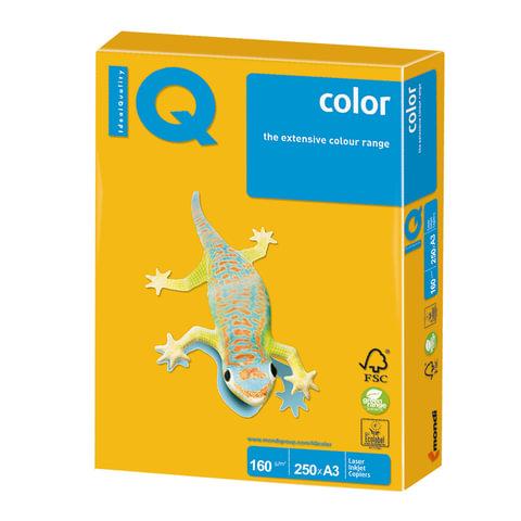 Бумага IQ (АйКью) color, А3, 160 г/м2, 250 л., интенсив солнечно-желтая, SY40