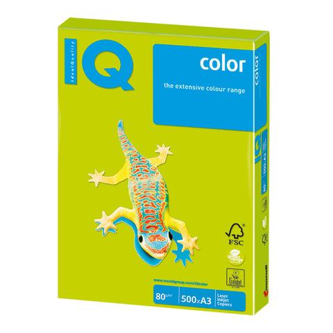 Бумага IQ (АйКью) color, А3, 80 г/м2, 500 л., неон зеленая, NEOGN